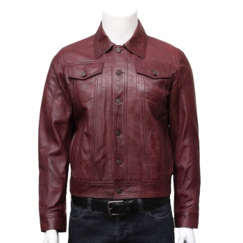 Mens Leather Stylish Biker jacket Coat  Burgundy-Tyler