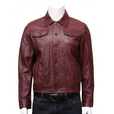 Mens Burgundy Leather Stylish Biker jacket Coat-Tyler