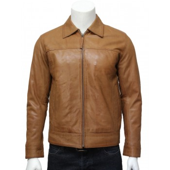 Men's harrington Leather Jacket Tan