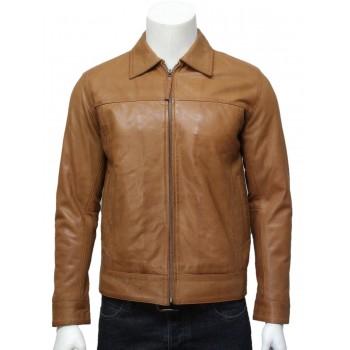 Men's harrington Leather Jacket Tan