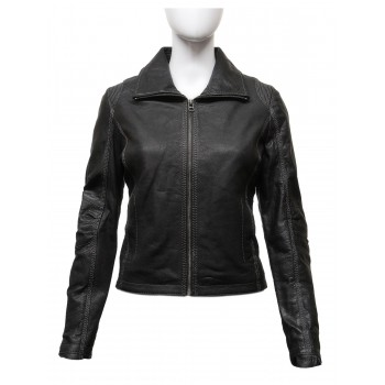Women's Black Real Leather Biker Jacket