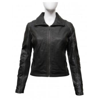 Women's Stylish  Real Leather Biker Jacket Black -Lena