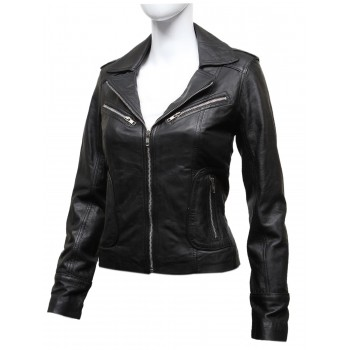 Vintage Women Classic Black real Leather Biker Jacket Designer Look