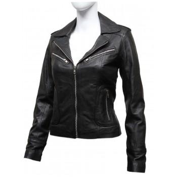 Women's Vintage Real Leather Biker Jacket-Hannah