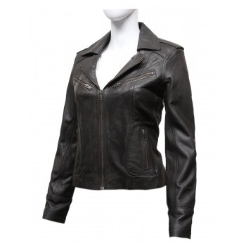 Vintage Women Classic Brown real Leather Biker Jacket Designer Look