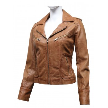 Vintage Women Classic Tan real Leather Biker Jacket Designer Look