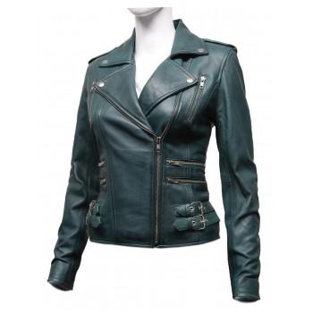 Women Waxed  Leather Biker Jacket - Moss