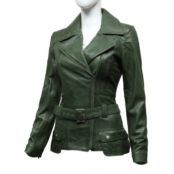 Ladies Olive Leather Biker Coat Style Jacket
