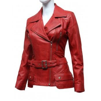Women Stylish  Leather Biker Jacket Red -Kate