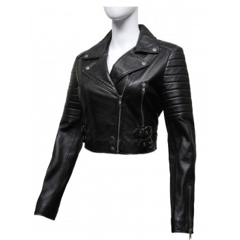 Ladies  Puffed Leather Biker Jacket Black-Tereza