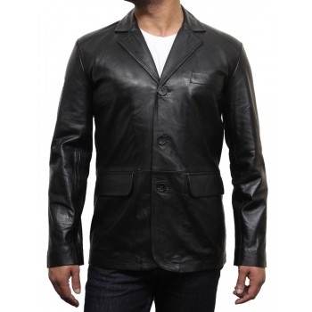 Men's Black Leather Blazer - Typo