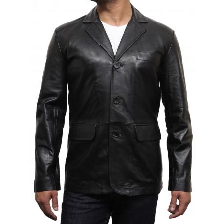 Men's Black Leather Blazer - Typo