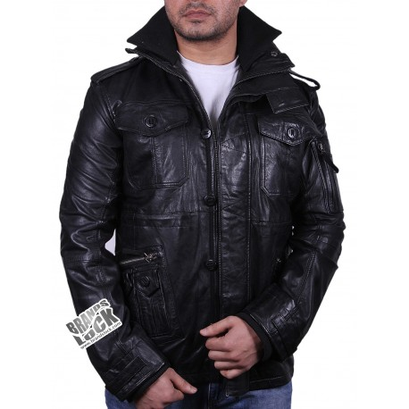 Men's Black Leather Jacket - Jeff