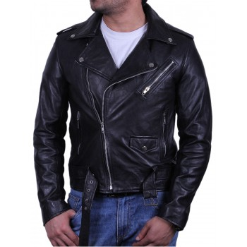Mens Stylish Zipped Pocket Leather Biker Jacket Teal- Maxim