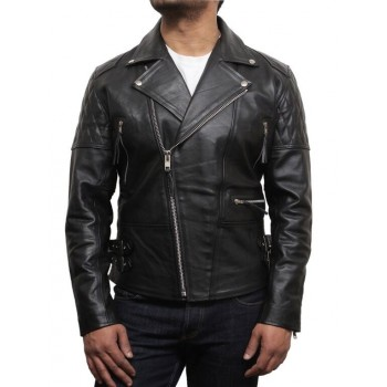 Men's Leather Biker Jacket In Soft Aniline Hide-Ryan
