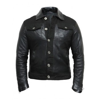 Men's  Leather Biker Jacket Slim Fit Style Grey - Justin