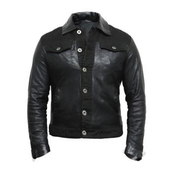 Men's  Leather Biker Jacket Slim Fit Style Grey - Justin