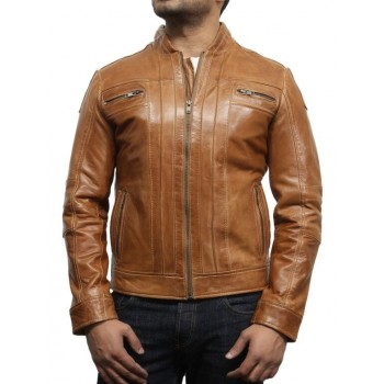 Men's Leather Biker Jacket Iconic Style  Brown- Bryan