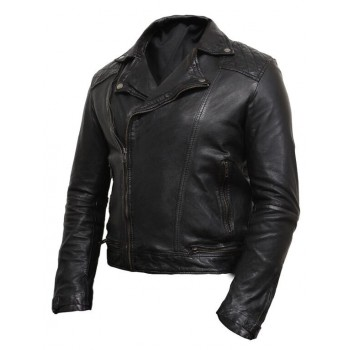Men' Leather Biker Jacket Washed Brando Black-Jared