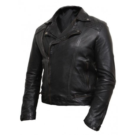 Men's Black Leather Biker Jacket Washed Brando -Jared