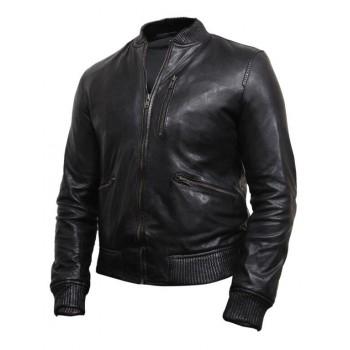 Men's  Leather Biker Jacket Black -Jace