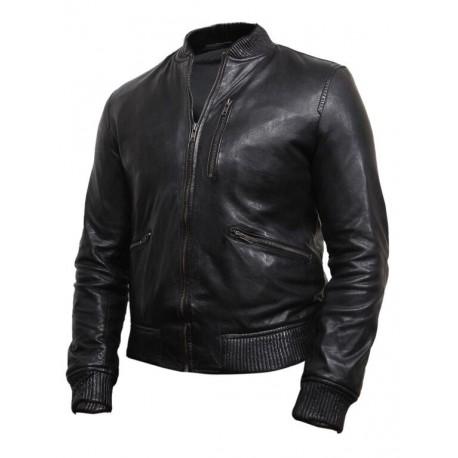 Men's Black Leather Biker Jacket -Jace
