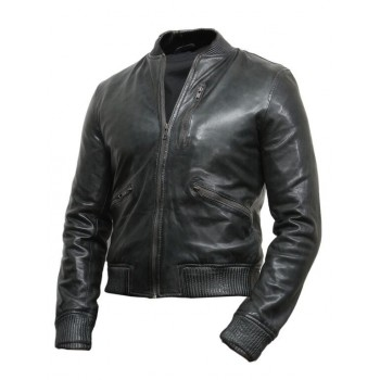 Men's Leather Biker Jacket Grey  - Jace