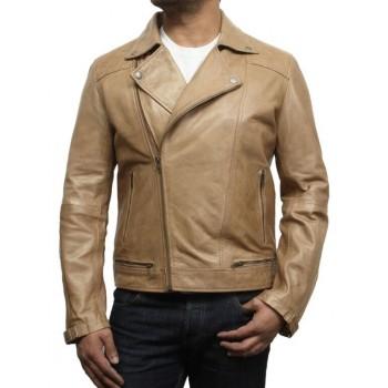 Men's Leather Biker Jacket  Tan - Eli