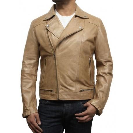 Men's Tan Leather Biker Jacket - Eli