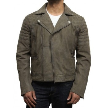 Men's Buffed Brando Leather Biker Jacket-Shane