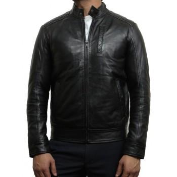 Mens Black Leather Biker Jacket Crinkle Retro - Derek