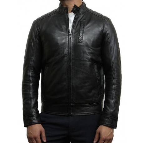 Mens Black Leather Biker Jacket Crinkle Retro - Derek