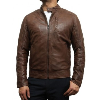 Mens Leather Biker Jacket Crinkle Retro Brown - Derek