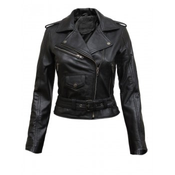 Vintage Womens Black Fitted Bikers Rock Style Leather Jacket