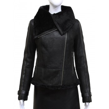 Women Black Real Shearling Sheepskin Short Fitted Leather Biker Jacket