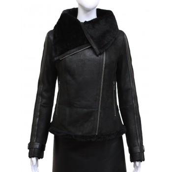 Women Black Real Shearling Sheepskin Short Fitted Leather Biker Jacket