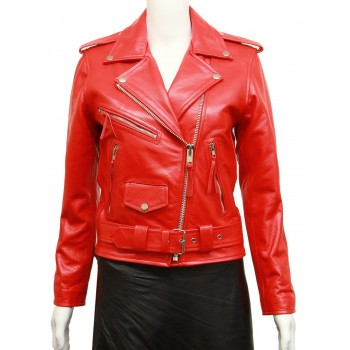 Women's Red Brando Real Leather Biker Jacket