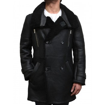 Men's Luxury Sheepskin Long Duffle Coat-Dick