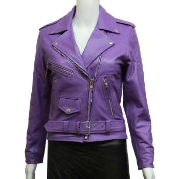 Women's Purple Brando Real Leather Biker Jacket