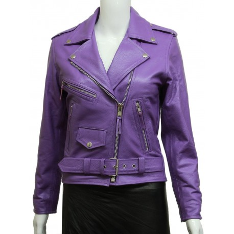 Women's Purple Leather Biker Jacket BNWT-Liza