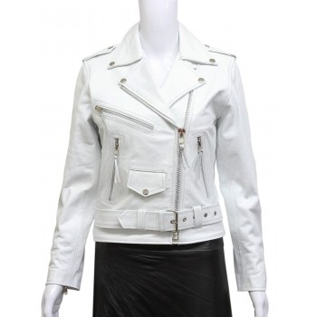 Women's White Black Brando Real Leather Biker Jacket