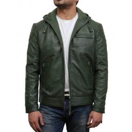 Men's Olive Green Leather Bomber Jacket - Majento