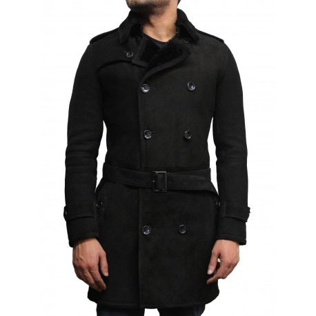 Men's Luxury Spanish Merino Fur Sheepskin Belted Pea Coat German Navy Long Duffle Coat Ideal For Winter Latest Design