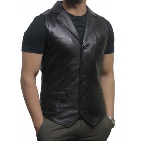 Men's Vintage Black Smart Leather Waistcoat Designer Fit-Ansel