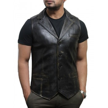 Mens Leather Waistcoat Genuine Leather Rubb Off