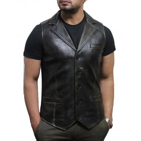 Men's Vintage Rub Off Smart Leather Waistcoat Designer Fit-Ansel