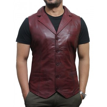 Mens Leather Waistcoat Genuine Leather