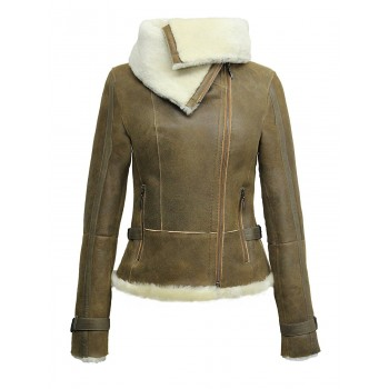 Women Tan Real Shearling Sheepskin Short Fitted Leather Biker Jacket