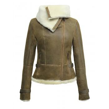 Women Tan Real Shearling Sheepskin Short Fitted Leather Biker Jacket