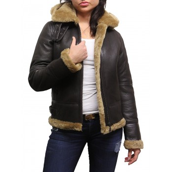Vintage Women's Classic Hooded  Real Shearling Sheepskin Leather Aviator  Jacket